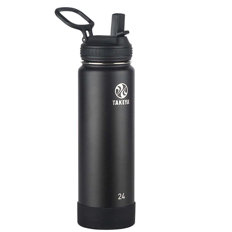 Takeya Actives Onyx Insulated Steel Bottle With Straw Lid 700ml/24oz_51224T_0