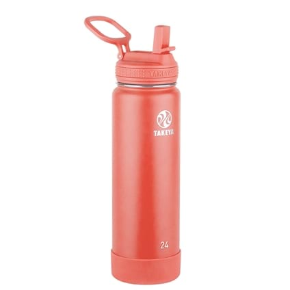 Takeya Actives Coral Insulated Steel Bottle With Straw Lid 700ml